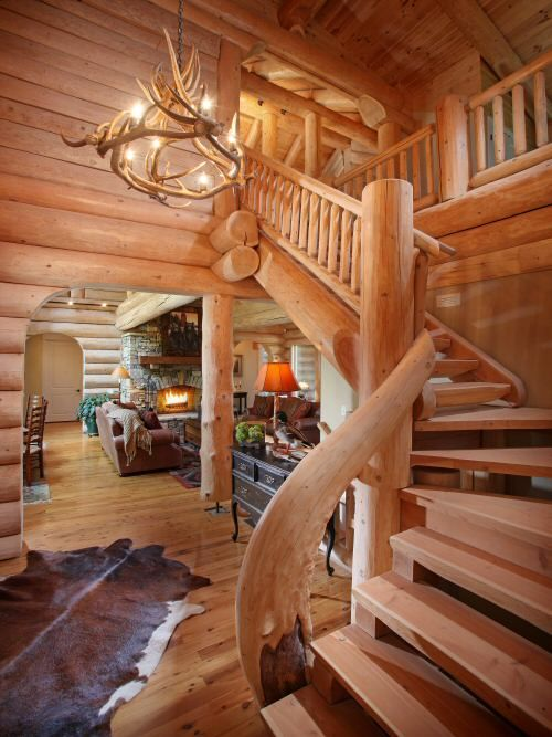 Open Log Stairs: 17 Best Images About Log House Stairs On Pinterest