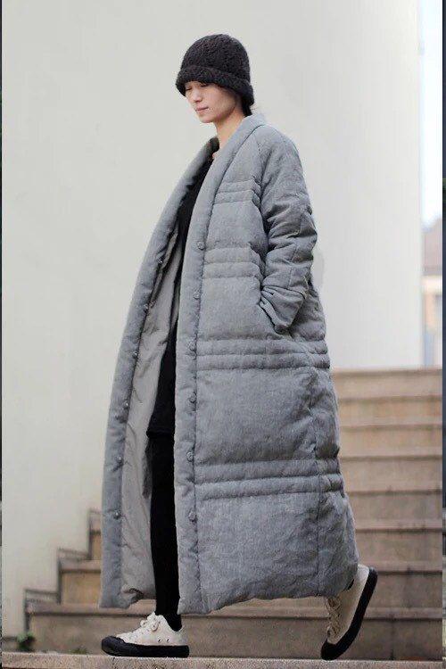 Gray jacquard linen Duck Down coats jackets BonLife by BonLife