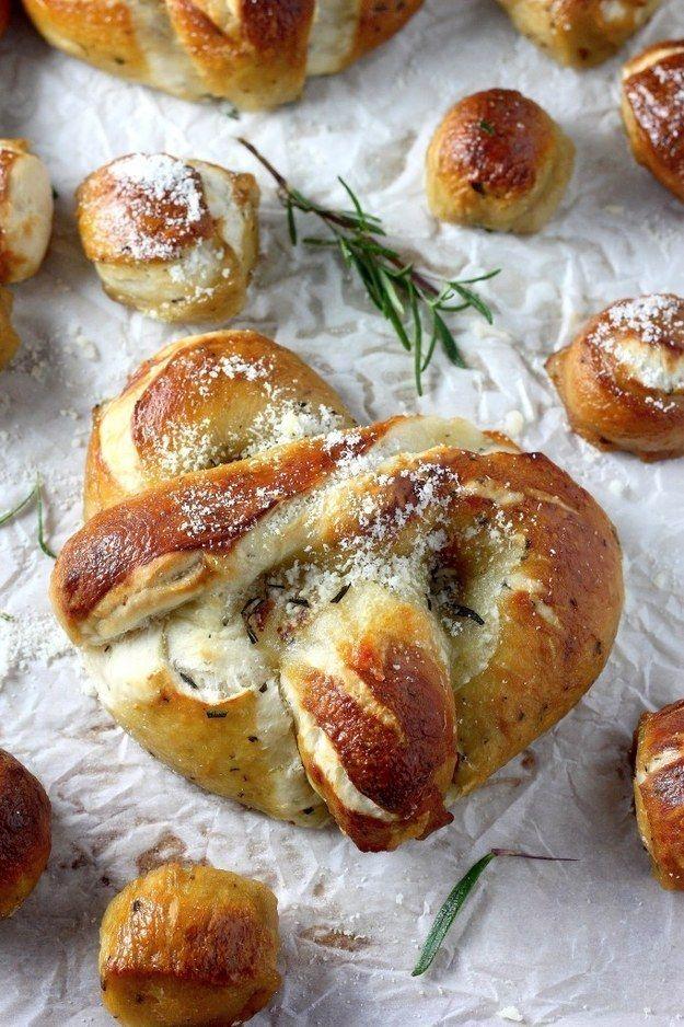 Mozzarella Stuffed Rosemary and Parmesan Pretzels | 26 Soft Pretzel Recipes For National Pretzel Day