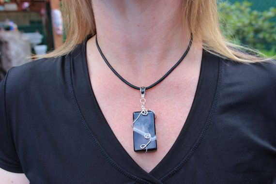 Black Stone Necklace Wire Wrapped Necklace by PepperPotLeatherShop, $45.00