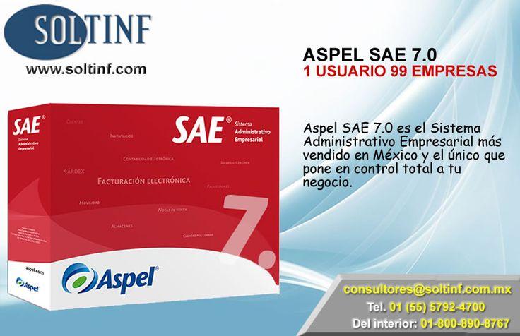 SAE 7.0 1 USUARIO 99 EMPRESAS  Aspel SAE 7.0 es el Sistema Administrativo Empresarial más vendido en México y el único que pone en control total a tu negocio. Controla el ciclo de todas las operaciones de compra-venta de la empresa, como inventarios, clientes, facturación, cuentas por cobrar, vendedores, compras, proveedores y cuentas por pagar, automatizando eficientemente los procesos administrativos.   NUESTRA TIENDA EN LINEA: https://www.soltinf.com/