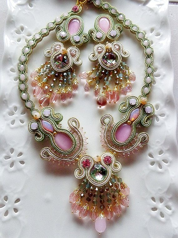 Soutache set necklace and earrings pink and olive shades with crystals and diamond braids soutache gold summer trend party