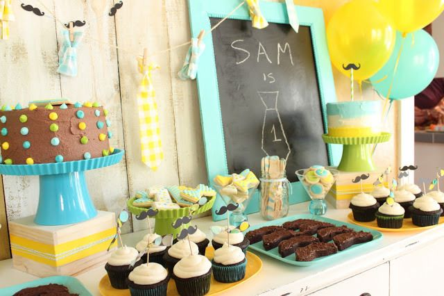 Mustache and Bow Tie Birthday Party via Little Cake Party with party themes, ideas, food, game, cake, and more! LittleCakeParty.com #babysho...
