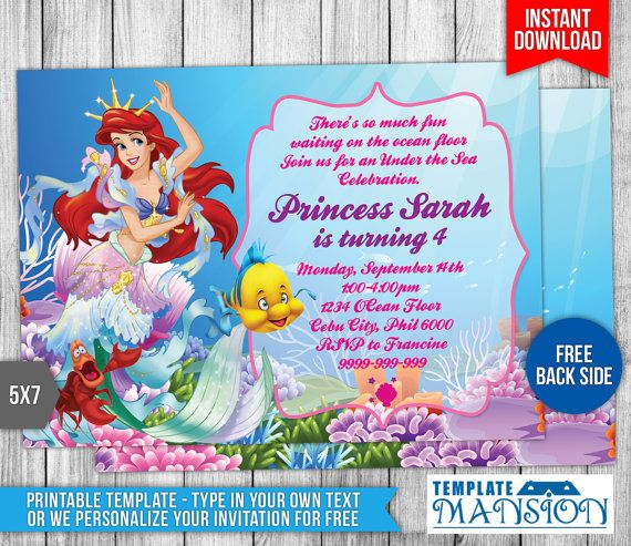 Little Mermaid Birthday Invitations Free Printables Zrom