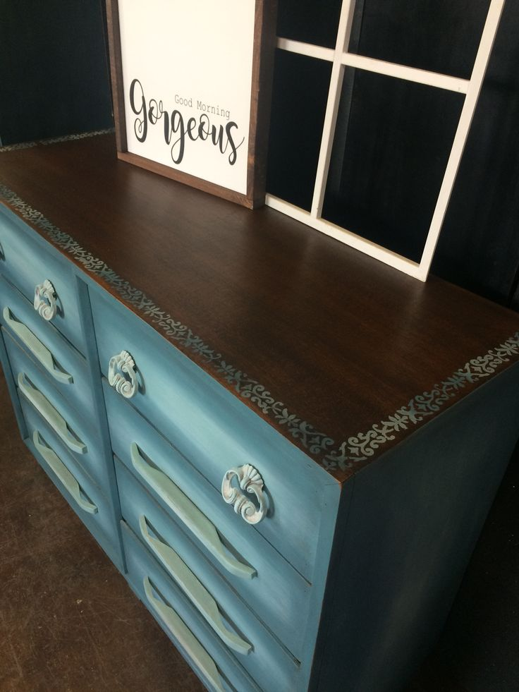 Stained and stencilled the top of this dresser.  Turned out amazing. #tracystreasures02 #countrychicpaint