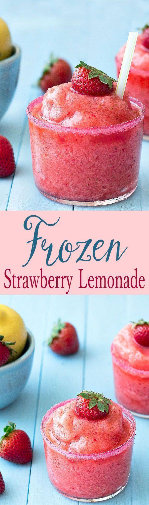 Frozen Strawberry Lemonade - So easy to make, full of fresh strawberries and tart lemons. Not too sour or too sweet, just perfect!