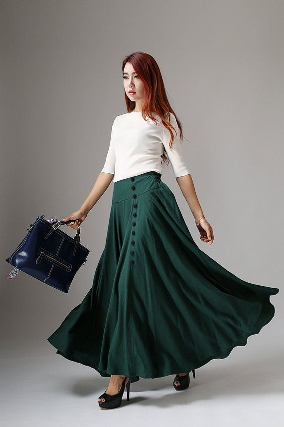 This is a green skirt,women maxi skirt. ** Details ** * Green linen fabric * Hide zipper in the right side * Some buttons in the front side, they