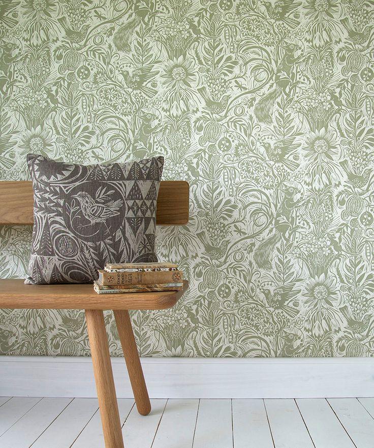 Mark Hearld - Harvest Hare - wallpaper - chalk white   Wallpaper ...