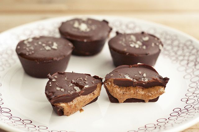 Dark Chocolate, Almond Butter Mini-Cups with Sea Salt (gf, vegan, paleo etc)  ✦  dark chocolate (option to sweeten your own unsweetened chocolate) ✦  coconut oil  ✦  maple syrup*  ✦  liquid stevia*  ✦  unsalted almond butter (or any other nut butter or seed butter of your choice)  ✦  ground chia seeds (I skip this)  ✦  5-8 drops of Liquid Vanilla Stevia* (I use xylitol or erythritol)  ✦  sea salt