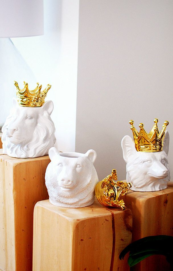 Crowned animal kingdom head cookie jar container #product_design