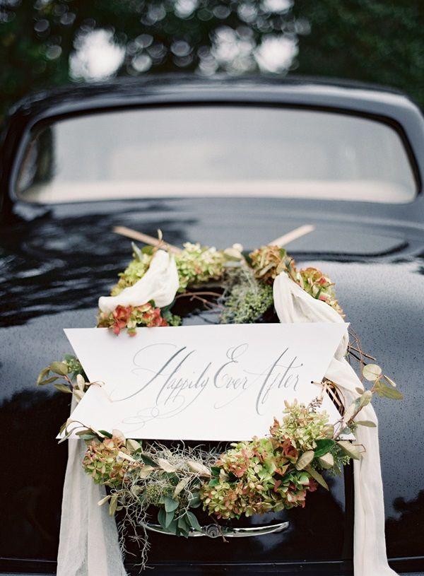 Elegant Wedding Getaway Car Wreath | photography by josevillablog.com/