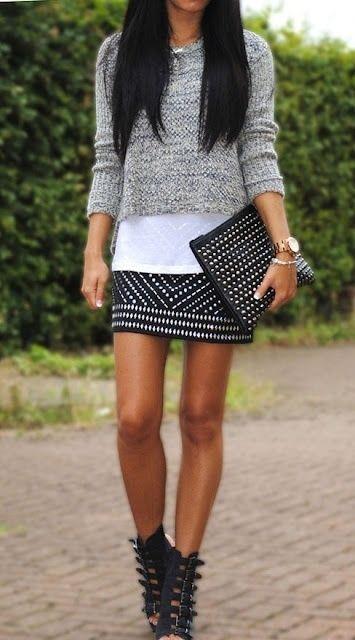 studded skirt, gray sweater, studded clutch