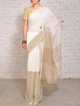 Ivory Grey Linen Saree