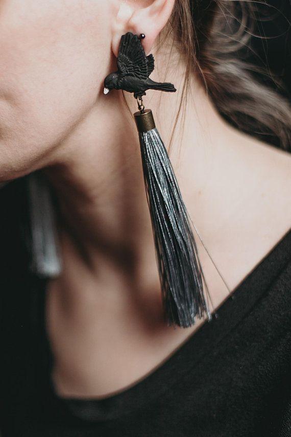 ddb1d2bd4 Tassel Earrings, Long Earrings, Bird, Polymer clay earrings, Big earrings,  Jewelry, Handmade, Gift for her,Black, Silver, Studs, Clips