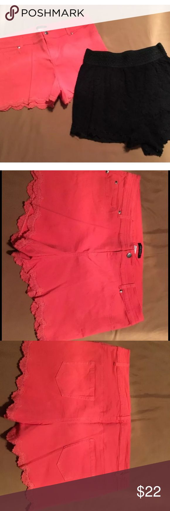 💕Bundle of Shorts. 1XL. Barely worn💕 Bundle of 2 cute & sassy shorts 1XL. Barely worn and in excellent condition. Black lace is fully lined with elastic. Coral pair has lace hem. 💕 Shorts