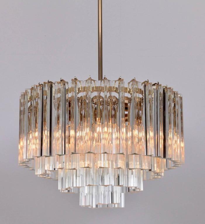 Huge Murano Triedri Glass And Brass Chandelier By Venini Chandelier Brass Chandelier Wall Lamp