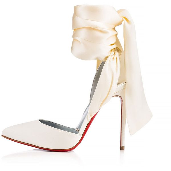 Douce Du Desert 100 Off White Crepe satin/Satin/Lurex - Women Shoes -... ($895) ❤ liked on Polyvore featuring shoes, crepes shoes, champagne satin shoes, satin shoes, christian louboutin and off white shoes