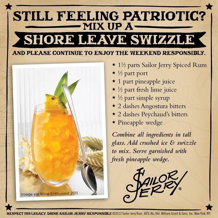 Shore Leave Swizzle. Sailor Jerry Spiced Rum, port, pineapple juice, lime juice, simple syrup, Angostura bitters, Peychaud's bitters, pineapple wedge. Page no longer exists