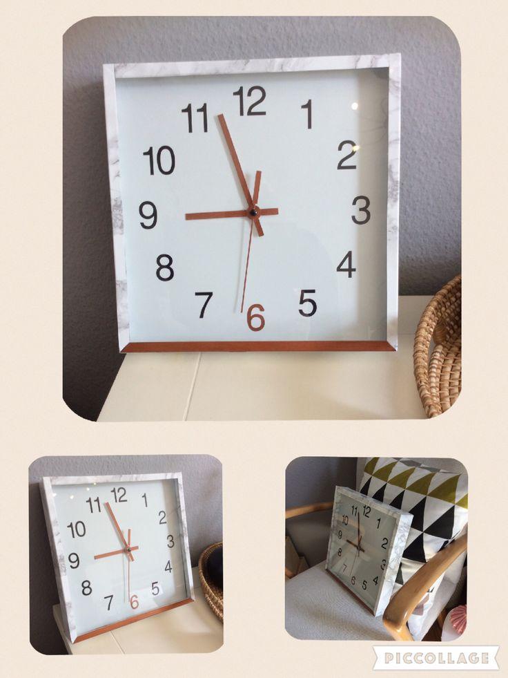 DIY: alte, graue Küchenuhr mit Kuper-Edding und Marmorfolie aufgehübscht  ❤️  * Marble Watch - Uhr Marmor *