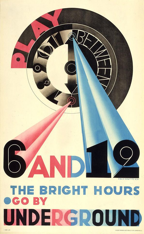 Edward Knight Kauffer: Play Between 6 and 12 (1931). Poster for the London underground train.