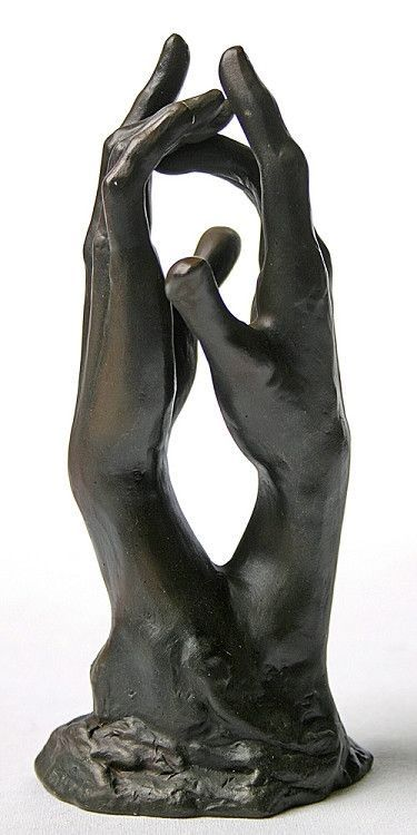 Rodin was fascinated by the expressiveness and symbolism of hands. In his famous sculpture The Cathedral for example, the hands mirror majestic gothic architecture. These two graceful hands are a stud