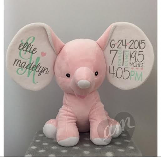 Personalized Birth Stats Elephant. Includes all birth info and colors can be customized. Many colors available. Perfect keepsake gift for any baby!