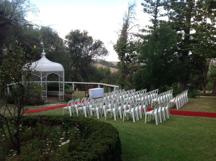 Wedding ceremony setup at the Gazebo, that was shipped in from scotland in the late 1900's by William Taylor himself