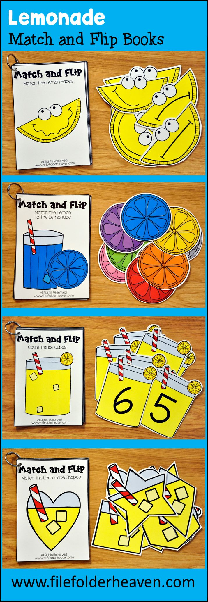 These Matching Activities: Lemonade Match and Flip Books focus on basic matching skills. In these activities, students work on matching picture to picture (or matching by emotion) matching by shape, matching by counting and matching by color. There are four Match and Flip Books included in this download.