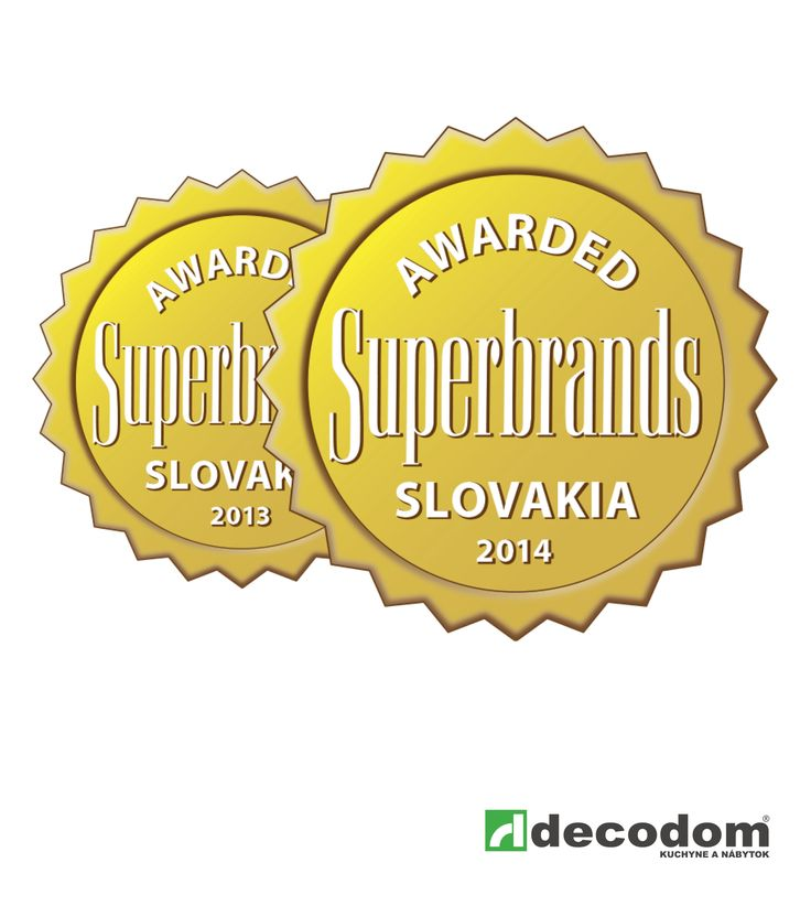 Certifikát SUPERBRANDS - Ocenenie za roky 2013 a 2014 - Hodnotenie pozitívneho vnímania značky DECODOM odbornou komisiou ako aj zákazníkmi.