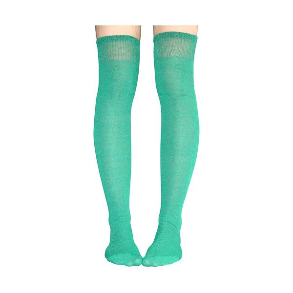 Solid Green Thigh Highs ($50) ❤ liked on Polyvore featuring intimates, hosiery, socks, green socks, over knee socks, green over the knee socks, thigh high hosiery and green hosiery
