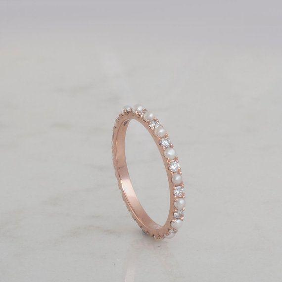 Diamants et perles en alternance l'éternité anneau d'or par ARDONN