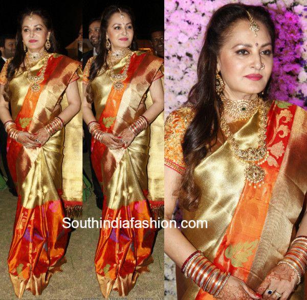 Jayapradha in a gold Kanjeevaram saree