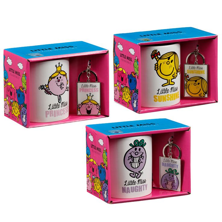 Little Miss Mug & Key Ring Gift Set. Ideal for fans of the Little Miss characters. With mug & key ring - to display your love for the series. 3 designs.