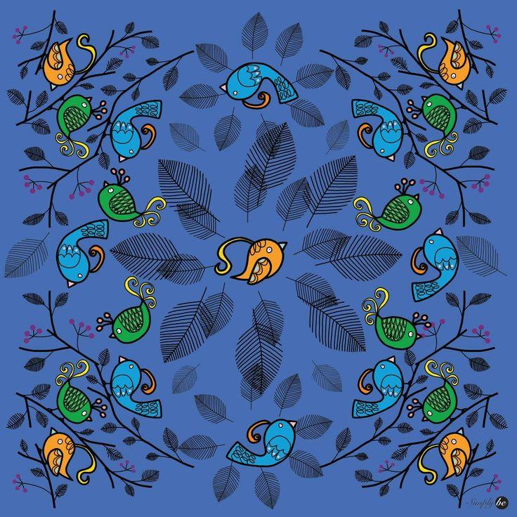 Scarf by Simply be, size 100x100 cm., Silk Satin fabric, Bird - blue