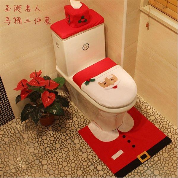 3Pcs SET Merry Christmas Bathromm Toilet Seat Cover Santa Mat Shower Xmas Decor