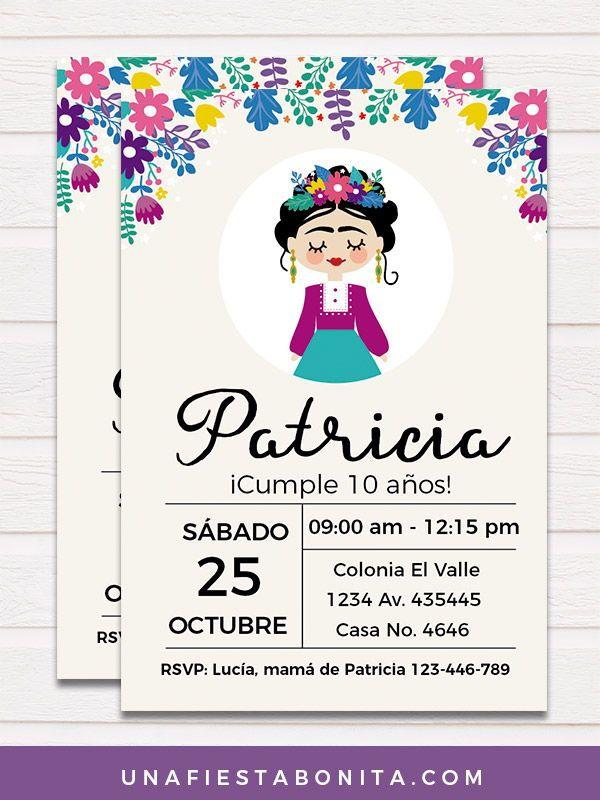 Invitación Frida Kahlo Invitaciones De Fiesta