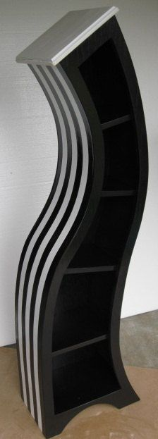 handmade 5FT curved bookshelf,black and white striped 224 x 623
