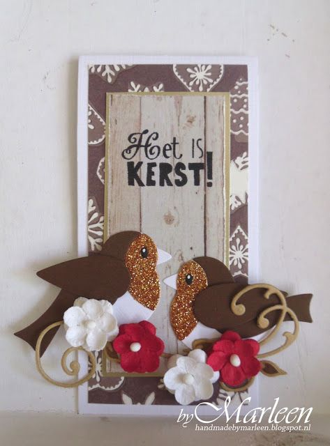 Card by DT member Marleen with Collectables Eline's Birds (COL1392) and Creatables Anja's Vintage Swirls (LR0271) by Marianne Design