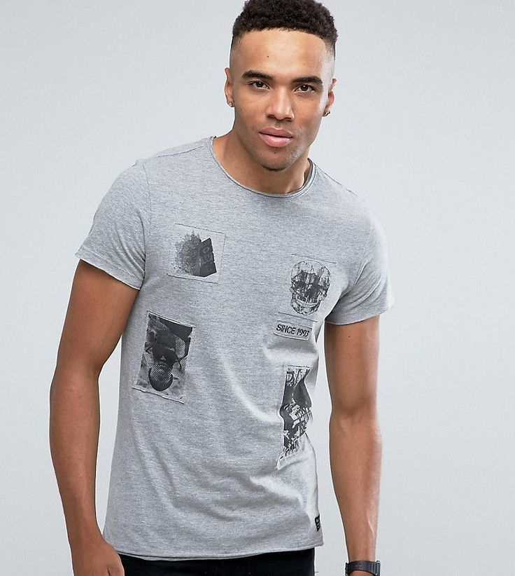 Blend Patches Skull T-Shirt - Gray
