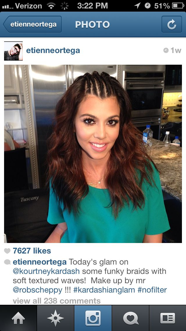 "Birthday Hair for sure!! ""Kourtney Kardashian. Braided hair. Cornrows. Half up half down."""