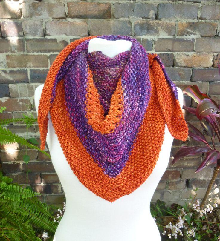 Triangle shawl. Triangle scarf. Wool shawl. Knitted shawl. Orange and purple shawl. Multi colour scarf. Striped shawl. Winter knit shawl. by Thingswelike2knit on Etsy