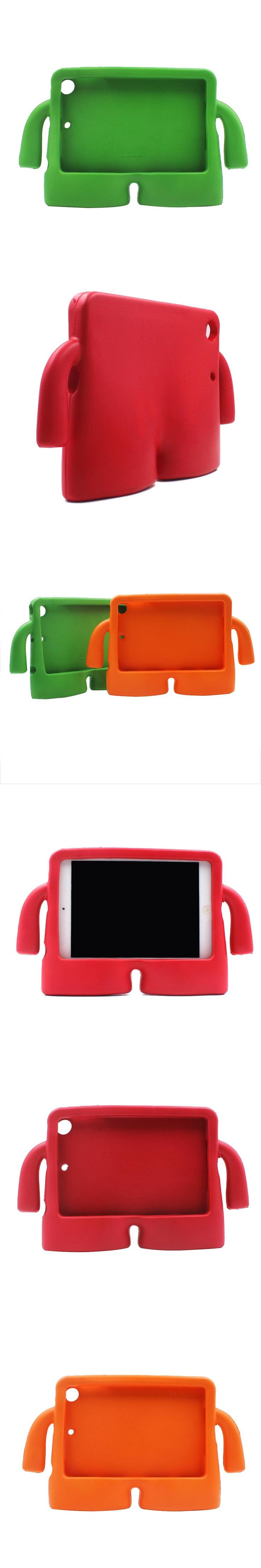 Silicone Case For Apple i-pad mini 1/2/3/4 Thick Foam Shock Proof Soft Stand Case 3D Cute Cartoon Kids Cover For Kids