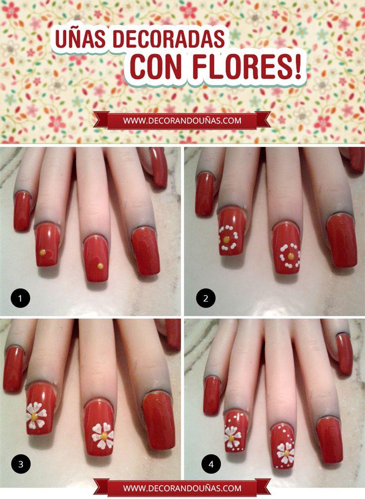 Tutorial paso a paso para tener uñas decoradas con Flores , http//xn