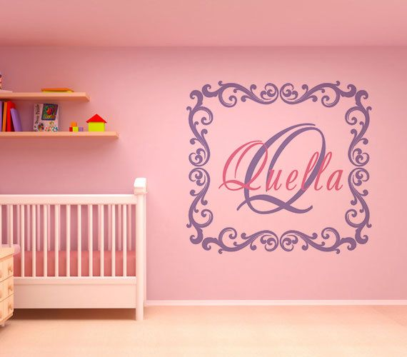 Custom nursery wall decalname wall stickersquare kids name wall decal demask
