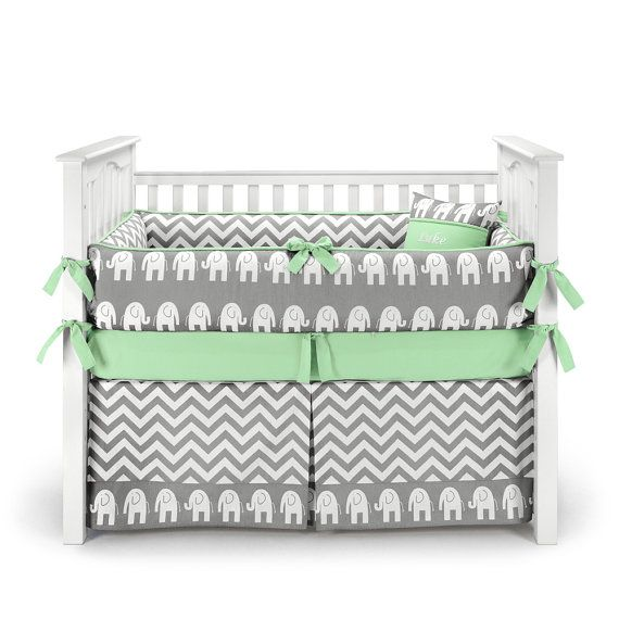 Elephants Chevron Green mint 5pc Crib Bedding Set  by SofiaBedding