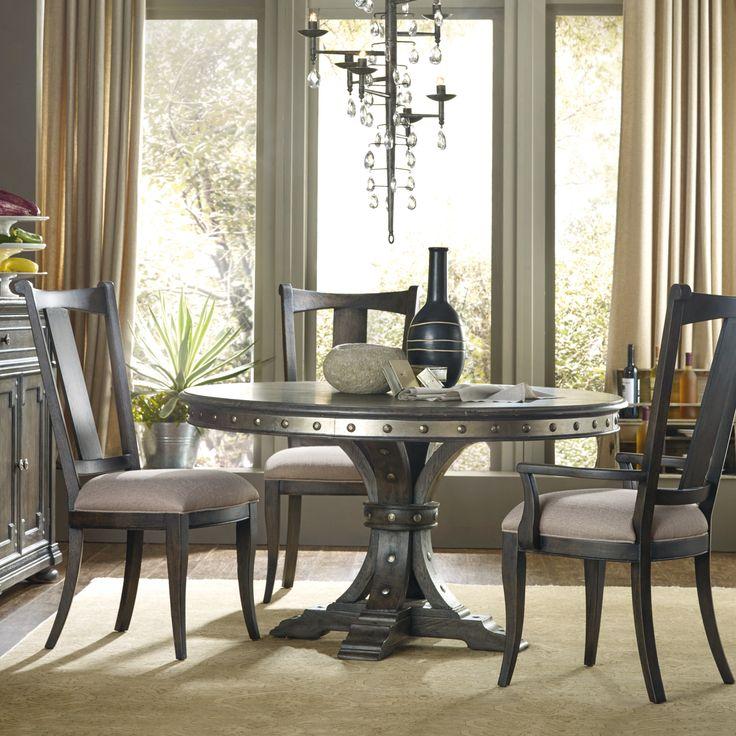 Hooker Furniture Vintage West 5 Piece Round Metal Top Dining Table Set