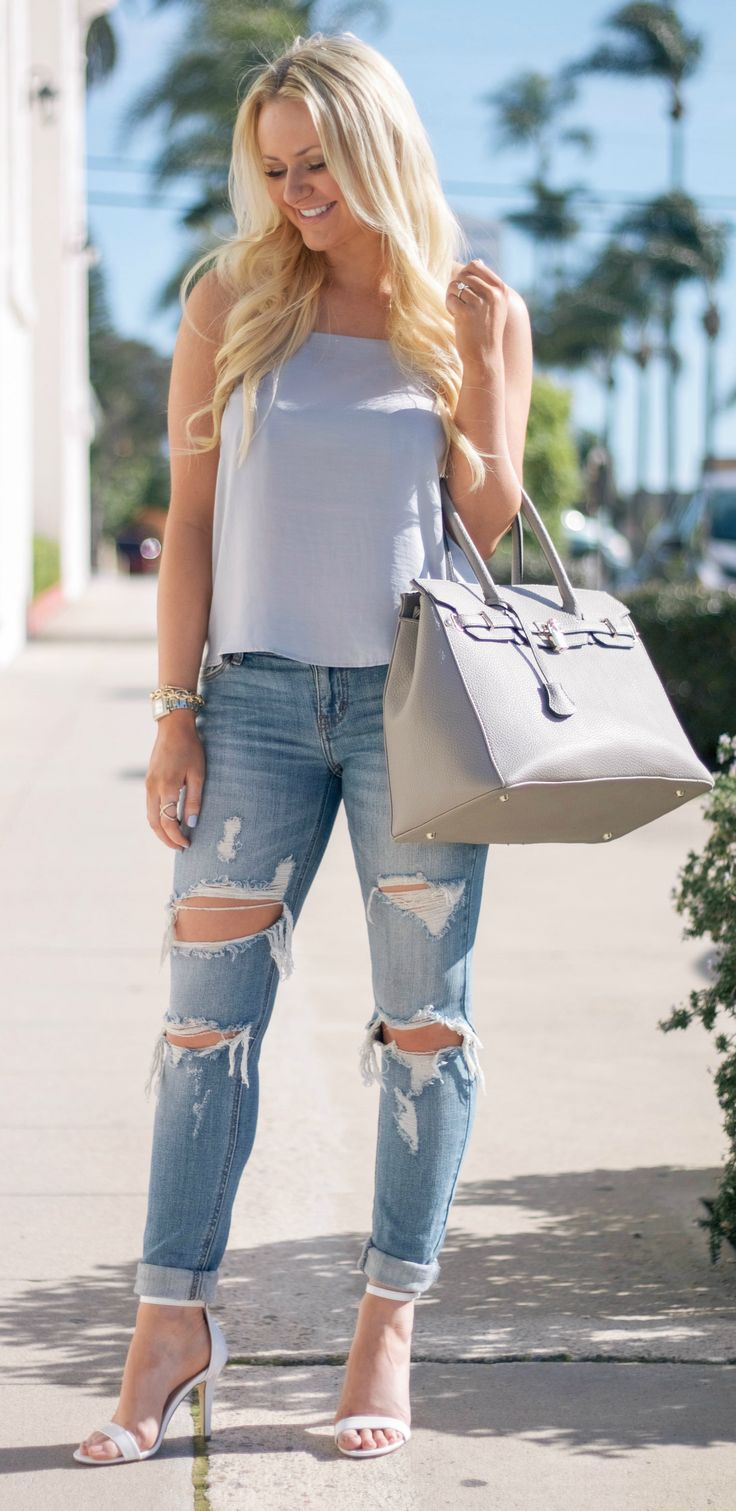 Blue cami and ripped jeans + heels <3
