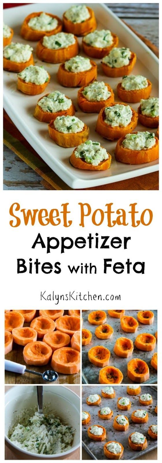 They look a bit fancy, but these Sweet Potato Appetizer Bites with Feta and Green Onion are delicious and easy to make.  These are perfect for the holidays or a healthier nibble while watcing sports.  [found on KalynsKitchen.com]