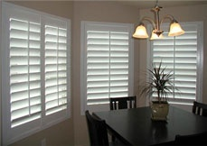 "Plantation Shutters for the Dining Room. 4 1/2"" Louver Slats with wide panels…"