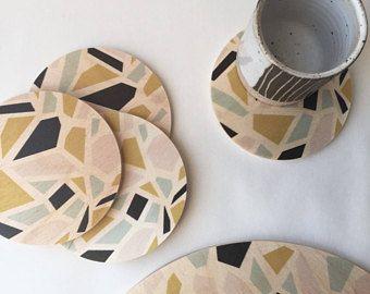 Terrazzo coasters, wood coasters, modern coasters, terrazzo, stone, coasters, housewarming gift, hostess gift, coaster set, midcentury